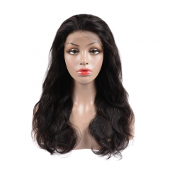 BHF Body Wave Full Lace Front Human Hair Wigs Pre Plucked Brazilian Virgin Hair Wigs Bleached Knots natural black 12