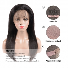 BHF Straight Full Lace Human Hair Wigs With Baby Hair Pre Plucked Peruvian Hair Wigs Bleached Knots natural black 14