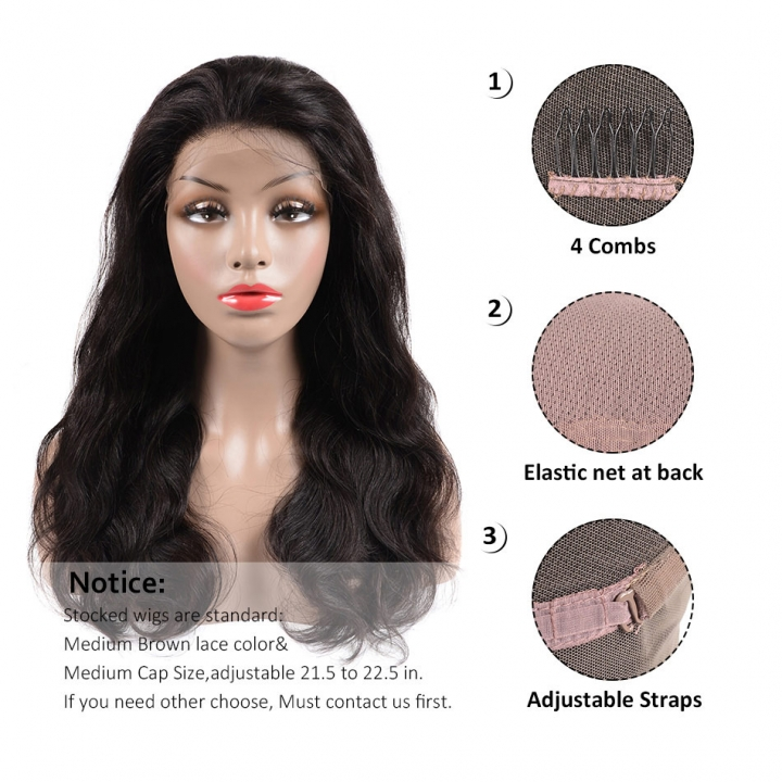 BHF Per Plucked Peruvian Lace Front Human Hair Wigs Natural Body Wave Full Lace Human Hair Wigs natural black 12