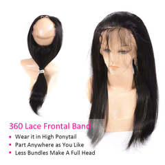 360 Full Lace Frontal Closure Bleached Knots With Baby Hair Indian Straight Hair 8