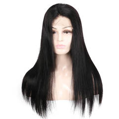 BHF Pre Plucked Peruvian 4*4 Lace Front Human Hair Wigs Natural Straight  Lace Human Hair Wigs natural black 12