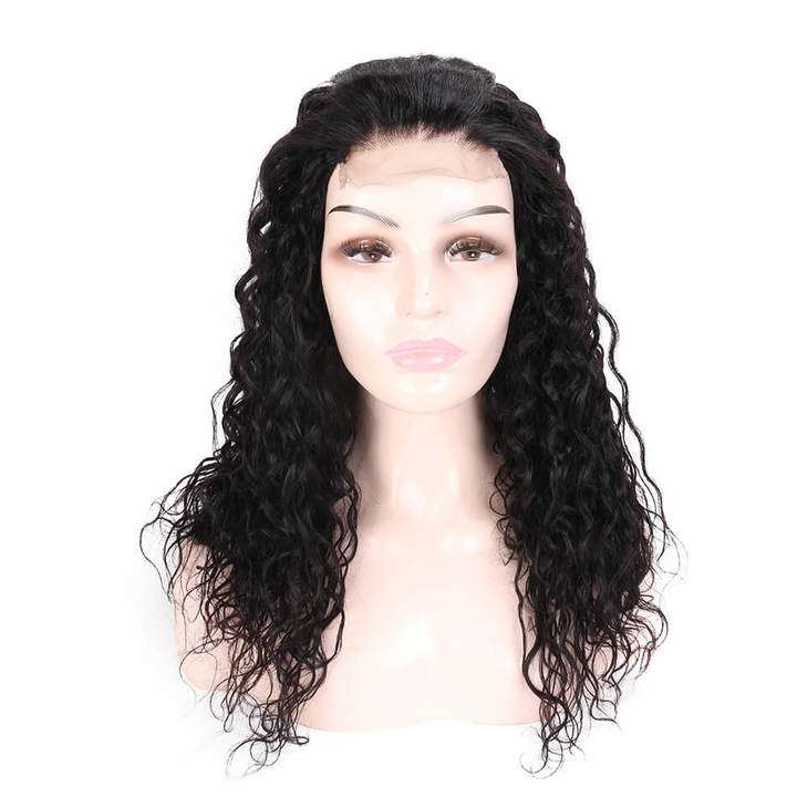 BHF Pre Plucked Peruvian 4*4 Lace Front Human Hair Wigs Natural Water Wave  Lace Human Hair Wigs natural black 14