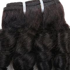 BHF 4 Bundles Brazilian Fummi Wave 100% Human Hair  Weaves Bundles 50G/pc Remy Human Hair natural black 12 12 12 12