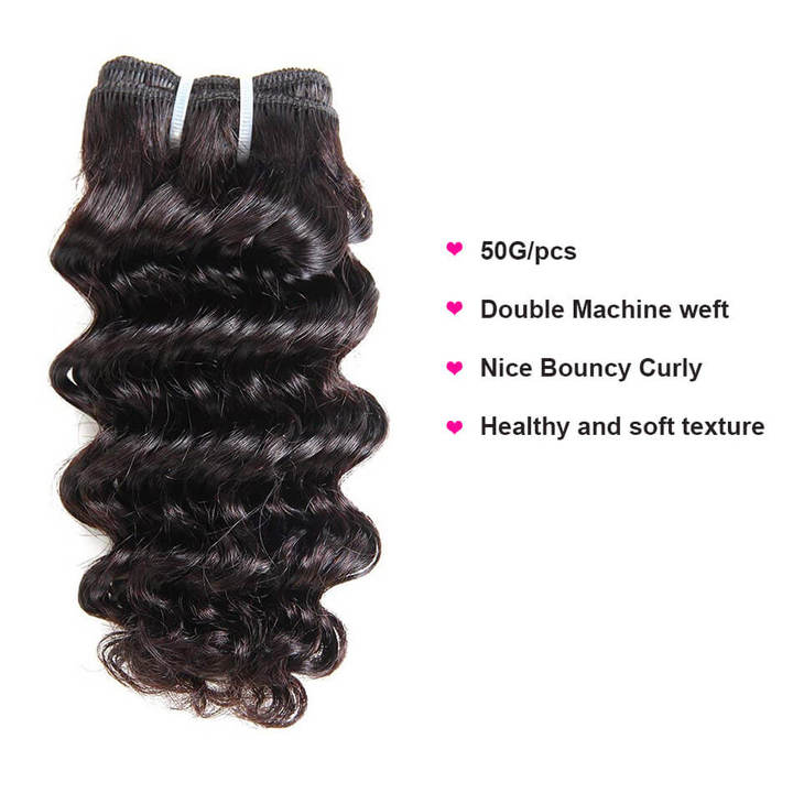 BHF Brazilian Deep Wave 100% Human Hair extension Weave Bundles 50G/pc Remy Human Hair Weaves natural black 12