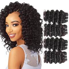 BHF 4 Bundles Brazilian Deep Wave 100% Human Hair  Weaves Bundles 50G/pc Remy Human Hair natural black 12 12 12 12