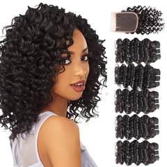 Malaysian Virgin Hair Deep Wave 5 Bundles With Closure 50G 8A Grade Human Hair With Lace Closure free part 8*5+8