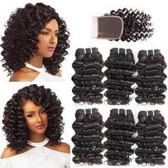 Indian Virgin Hair Deep Wave 6 Bundles With Closure 50G 8A Grade Human Hair With Lace Closur free part 8*6+8