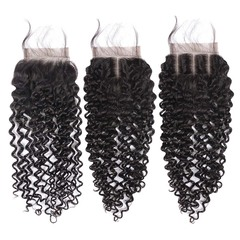 BHF 9A Human Hair Kinky Curly 4x4 Brazilian Lace Closure With Baby Hair Free Middle Three Part free part 8