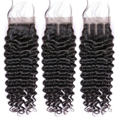 BHF Deep Wave 9A Human Hair 4x4 Brazilian Lace Closure With Baby Hair Free Middle Three Part free part 8