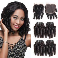 BHF Brazilian Fummi  Bundles With Lace Closure 50G 8A Virgin Human Hair 4Pcs With 8 Inch Closure free part 12 12 12 12+8