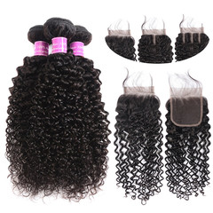 BHF Indian Kinky Curly Raw Human Hair 3 Bundles With 1 Pc Free Part Closure Double Weft Can Be Dyed free part 8*3+8