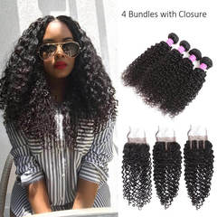 BHF Peruvian Kinky Curly Unprocessed Human Hair 4 Bundles With 1 Pc Free Part Lace Closure free part 8*4+8
