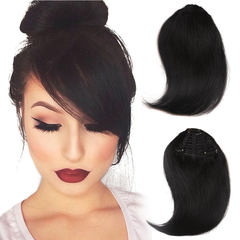 BHF Clip In 100% Human Hair Bangs Extensions Straight Front Neat Hair For Women 1b 6.5inch