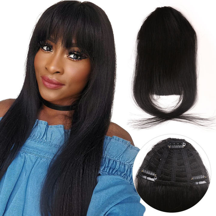 BHF Clip In 100% Human Hair Blunt Air Fringe Extensions Straight Front Neat Fake Hair For Women 4# 6.5inch