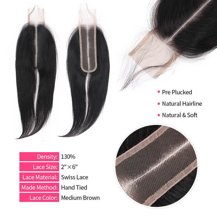 BHF 9A Human Hair 2x6 Brazilian Lace Closure Straight With Baby Hair Middle Part natural black 10
