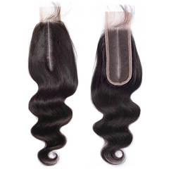BHF 9A Body Wave Human Hair 2x6 Brazilian Lace Closure With Baby Hair Middle Part natural black 8