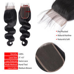 BHF 9A Body Wave Human Hair 3x6 Brazilian Lace Closure With Baby Hair Free Part natural black 8