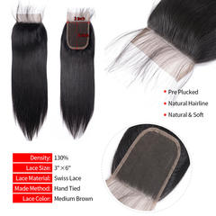 BHF 9A Straight Human Hair 3x6 Brazilian Lace Closure With Baby Hair Free Part natural black 8