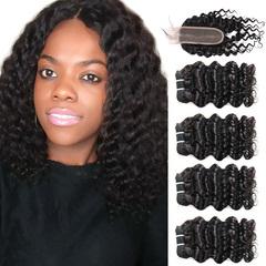 BHF Chinese Virgin Hair Deep Wave 4 Bundles With Lace Closure With 50G 8A Grade Closure natural black 8 8 8 8 +8