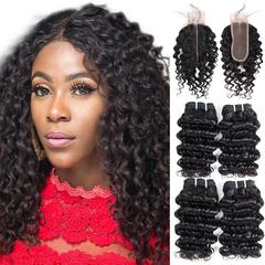 BHF Malaysian Virgin Hair Deep Wave 4 Bundles With Closure 50G 8A Grade With Lace Closure natural black 8 8 8 8 +8