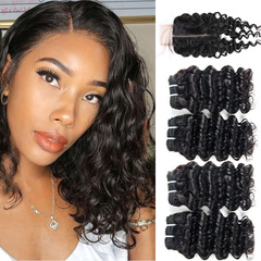 BHF Brazilian Virgin Hair Deep Wave 4 Bundles With Closure 50G 8A Grade With Lace Closure natural black 8 8 8 8 +8