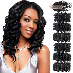 BHF Chinese Virgin Hair Deep Wave 6 Bundles With Lace Closure With 50G 8A Grade Closure natural black 8*6+8
