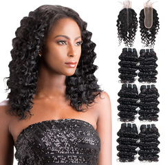 BHF Indian Virgin Hair Deep Wave 6 Bundles With Lace Closure With 50G 8A Grade Closure natural black 8*6+8
