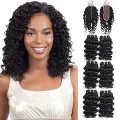 BHF Brazilian Virgin Hair Deep Wave 6 Bundles With Closure 50G 8A Grade With Lace Closure natural black 8*6+8