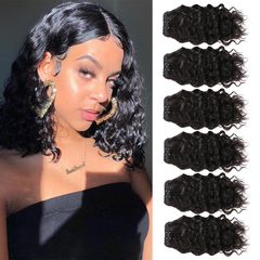 BHF Chinese Virgin Hair Water Wave 6 PCS With Lace Closure With 50G 8A Weave Bundles natural black 8*6+8