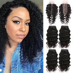 BHF Water Wave Malaysian Virgin Hair 4 Bundles With Closure 50G 8A Grade With Lace Closure natural black 8 8 8 8 +8