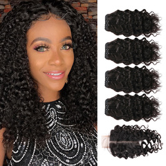 BHF Water Wave Mongolian Virgin Hair 4 bunches With 50G 8A Seals With 2*6 Closure natural black 8 8 8 8 +8