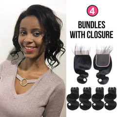 BHF Brazilian Virgin Hair Body Wave 4 Bundles 50G 8A Grade With 2*6 Lace Closure natural black 14 14 14 14+8