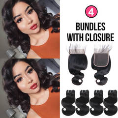 BHF Chinese Virgin Hair Body Wave 4 Bundles With Lace Closure With 50G 8A Grade Closure natural black 8 8 8 8 +8