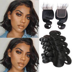 BHF Chinese Virgin Hair Body Wave 5 Bundles With Lace Closure With 50G 8A Grade Closure natural black 8*5+8