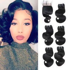 BHF Brazilian Virgin Hair Body Wave 5 Bundles 50G 8A Grade With 2*6 Lace Closure natural black 8*5+8