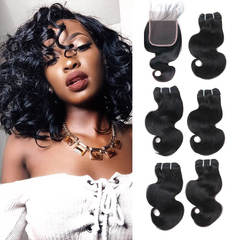 BHF Indian Virgin Hair Body Wave 5 Bundles With 2*6 Lace Closure With 50G 8A Grade Closure natural black 8*5+8
