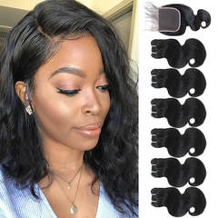 BHF Chinese Virgin Hair Body Wave 6 Bundles With Lace Closure With 50G 8A Grade Closure natural black 8*6+8