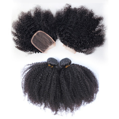 BHF Afro kinky curly Bundles With 4*4 Lace Closure Virgin Human Hair Weave 3 Bundles With Closure free part natural black 8*3+8