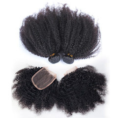 BHF Afro kinky curly Bundles With Closure With 4*4 Lace Closure Virgin Human Hair Weave 4 Bundles free part natural black 8*4+8