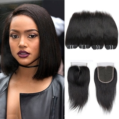 BHF 8A Brazilian Straight Virgin Hair 4 Bundles With 8 Inch 4*4 Lace Closure Free Middle Three Part free part natural black 10