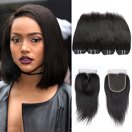 BHF 8A Brazilian Straight Virgin Hair 4 Bundles With 8 Inch 4*4 Lace Closure Free Middle Three Part free part natural black 8