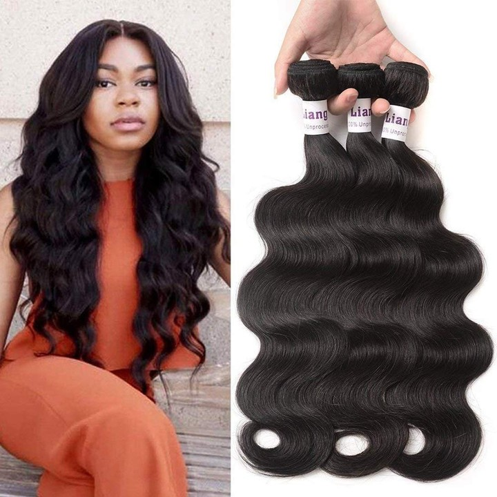 Body Wave Bundles Brazilian Human Hair 3 Bundles Body Wave Virgin Hair Extensions Natural Color Natural Black 8 8 8