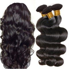 10A Brazilian Virgin Hair Body Wave Natural Black 100% Unprocessed Virgin Body Wavy Human Hair Weave Natural Black 12 12 12