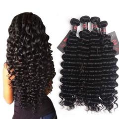 BHF 10A Brazilian Real Human Hair Deep Wave 3 Bundles Unprocessed Virgin Hair Weave Natural Color Natural Black 8 8 8