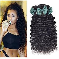 9A Grade Brazilian Virgin Hair Deep Wave 3 Bundles Remy Human Hair Weaves Natural Black Natural Black 8 8 8