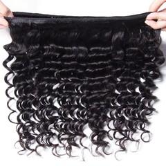 BHF Peruvian Deep Wave Hair 3 Bundles Unprocessed Virgin Human Hair Weave Extensions Natural Color Natural Black 8 8 8