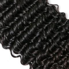 Deep Wave 3 Bundles Unprocessed Virgin Human Hair Wet and Wavy Human Hair Weave Natural Color Natural Black 8 8 8