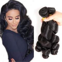 BHF Indian 3 Bundles Human Hair 100% Unprocessed Weave Loose Wave Virgin Hair Bundles Natural Black Natural Black 8 8 8