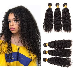 BHF Virgin 9A Kinky Curly Human Hair Extensions 3 Bundles Unprocessed Curly Weave Natural Color Hair Natural Black 8 8 8