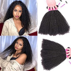 Brazilian 9A Kinky Curly Human Hair 100% Unprocessed Virgin Remy Hair 3 Bundles Weave Extensions Natural Black 8 8 8